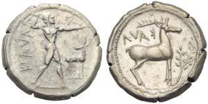 Bruttium, Caulonia, Stater, c. 474-425 BC; ...