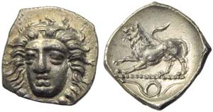 Campania, Phistelia, Obol, c. 325-275 BC; AR ...