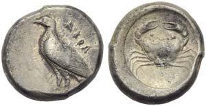 Sicily, Akragas, Didrachm, c. 500-495 BC; AR ...