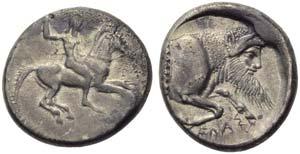 Sicily, Gela, Didrachm, c. 490-475 BC; AR (g ...