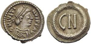 Justinus II (565-578), 250 Nummus, Ravenna, ...