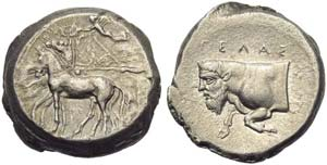 Sicily, Gela, Tetradrachm, c. 420-415 BC; AR ...