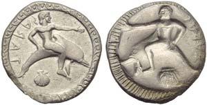 Apulia, Tarentum, Nomos, c. 510-500 BC;; AR ...