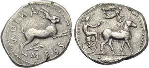 Sicily, Messana, Tetradrachm, c. 450-439 BC; ...