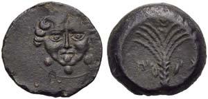 Sicily, Motya, Tetras, c. 413-409 BC; AE (g ...