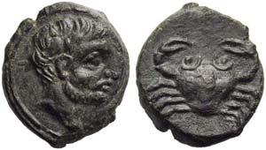 Sicily, Motya, Bronze, c. 409-397 BC; AE (g ...