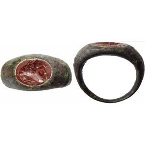 Roman bronze finger ring with jasper ...