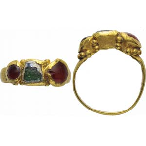 Late Roman gold carnelian and paste finger ...