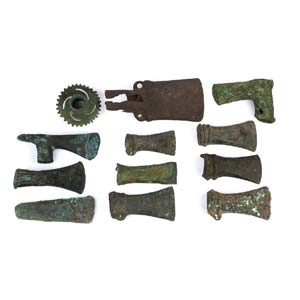 A collection of twelve bronze copper and ...