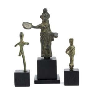 Three bronze Etruscan votive statuettes  7th ...