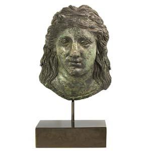 Bronze and silver-inlaid Imago Clipeata with ...