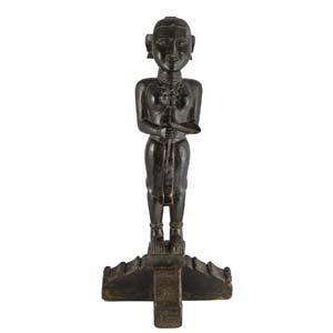 Piccola statua di divinità in legno scuro ...