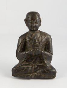 Statuetta lignea di arhat  Abheda lama ...