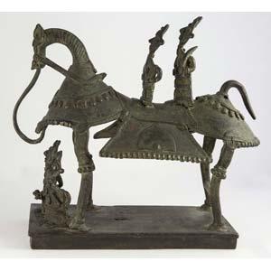 Statuetta stilizzata di Khandoba e della sua ...