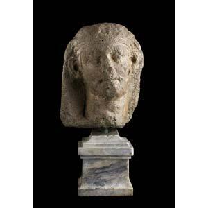 Etruscan nenfro head of a man ca. 3rd ...