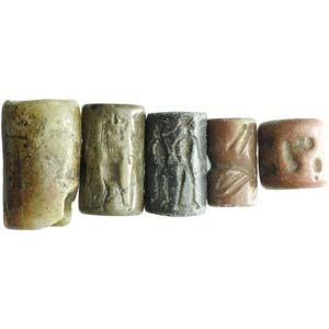 Five hard stone mesopotamian cylinder seals. ...