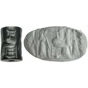 An achaemenid black hard stone cylinder ...