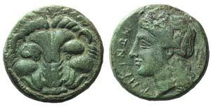 Bruttium, Rhegion, c. 351-280 BC. Æ (19mm, ...