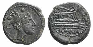Uncertain series, 211-208 BC? Æ Sextans ...