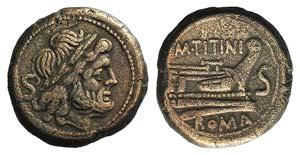 M. Titinius, Rome, 189-180 BC. Ӕ Semis ...