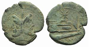 Star series, Rome, 169-158 BC. Æ As (33mm, ...