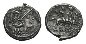 C. Scribonius, Rome, 154 BC. AR Denarius ...