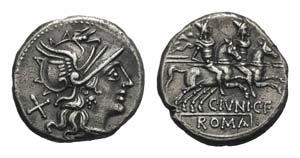 C. Junius C.f., Rome, 149 BC. AR Denarius ...
