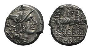 C. Renius, Rome, 138 BC. AR Denarius (16mm, ...