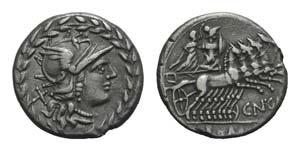 Cn. Gellius, Rome, 138 BC. AR Denarius ...