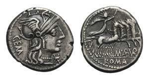M. Aburius M.f. Geminus, Rome, 132 BC. AR ...