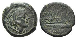 M. Fabrinius, Rome, 132 BC. Æ Quadrans ...
