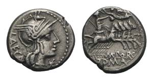 M. Porcius Laeca, Rome, 125 BC. AR Denarius ...