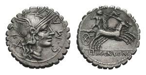 C. Malleolus C.f., Rome, 118 BC. AR Serrate ...