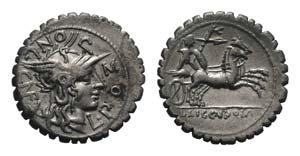 L. Pomponius Cn.f., Rome, 118 BC. AR Serrate ...