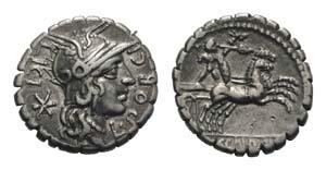 L. Porcius Licinus, Rome, 118 BC. AR Serrate ...