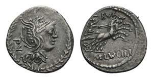 M. Lucilius Rufus, Rome, 101 BC. AR Denarius ...