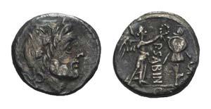 P. Sabinus, Rome, 99 BC. AR Quinarius (12mm, ...