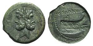 D. Silanus L.f., Rome, 91 BC. Æ As (28mm, ...