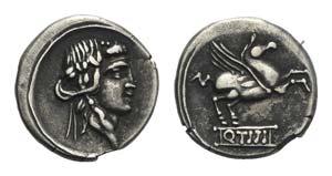 Q. Titius, Rome, 90 BC. AR Denarius (17mm, ...