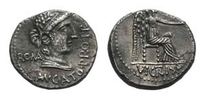 M. Cato, Rome, 89 BC. AR Denarius (16mm, ...