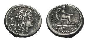 M. Cato, Rome, 89 BC. AR Quinarius (14.5mm, ...