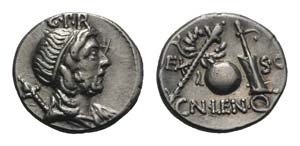 Cn. Lentulus, Spanish(?) mint, 76-75 BC. AR ...