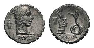 L. Roscius Fabatus, Rome, 59 BC. AR Serrate ...