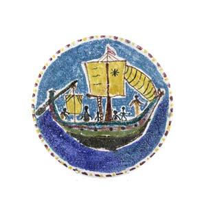 PROCIDA - VIETRI  Plate with sailing ship ...