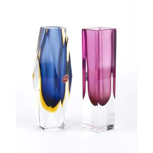 MANDRUZZATO - MURANOPair of faceted vases, ...
