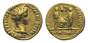Augustus (27 BC-AD 14). AV Aureus (20mm, ...