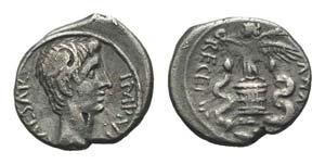 Augustus (27 BC-AD 14). AR Quinarius (14mm, ...