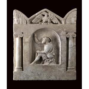 EPIGRAFE IN STILE ROMANO; Marmo, alt. cm 50; ...