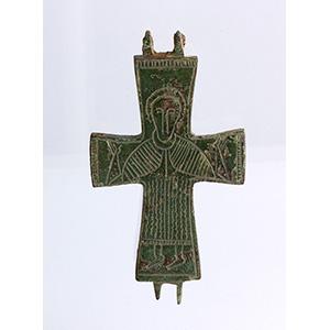 Croce bizantina in bronzo X-XII secolo d.C.; ...