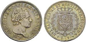 Carlo Felice (1821-1831) - Lira - 1826 T - ...